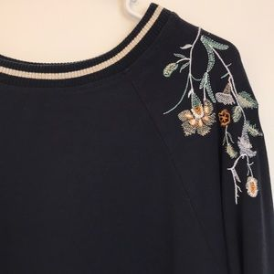 Rose & Olive Navy Bomber Tee Embroidery